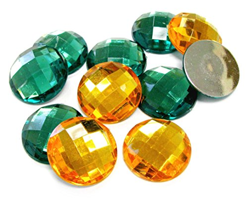 BR &Nameinternal 25mm Assorted Colors Faceted Round Acrylic Flat Back - No.D1- Approx. 10 Pcs/ Pack