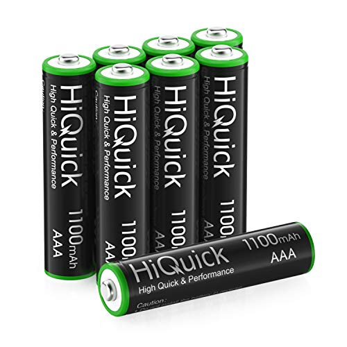 HiQuick AAA Rechargeable Batteries AAA Batteries 1100mAh High Capacity Performance 1.2V, Per-Charged Ni-MH AAA Battery Pack of 8