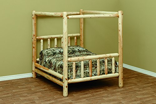 White Cedar Rustic Canopy Style Queen Bed (Canopy Log Bed)