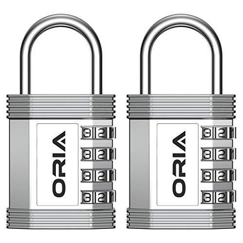 ORIA Combination Padlock, 4 Digit Combination Lock, Metal and Plated Steel Material for School, Employee, Gym or Sports Locker, Case, Toolbox, Fence, Hasp Cabinet and Storage, Set of 2, Silver -