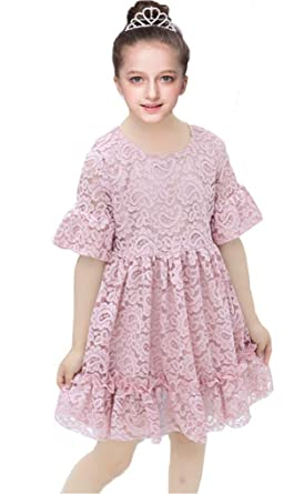 59263d6a1259 Shiny Toddler Little Girls Vintage Flower Girl Birthday Party Lace Dress  2-3,Short