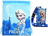 Disney Frozen Elsa The Queen 1 Blue Drawstring Bag and 1 Blue Lanyard