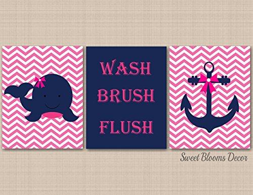 Pink Nautical Wall Art,Nautical Wall Art,Nautical Bathroom Wall Art,Whale Anchor Bathroon Decor,Navy Pink Nautical Nursery Wall Art,Girl Nautical-UNFRAMED Set of 3 PRINTS (NOT CANVAS) B137 (Nautica Bathroom Sets)