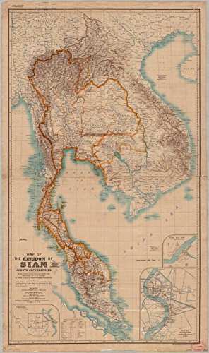 Historic Map | Thailand 1900 | Map of The Kingdom of Siam and its Dependencies | Antique Vintage Reproduction 14in x 24in