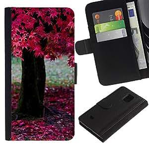 LASTONE PHONE CASE / Lujo Billetera de Cuero Caso del tirón Titular de la tarjeta Flip Carcasa Funda para Samsung Galaxy S5 Mini, SM-G800, NOT S5 REGULAR! / Nature Pink Tree