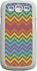Colorful and Grey Chevrons- Case for the Samsung Galaxy S3 i9300 -Hard White Plastic Case