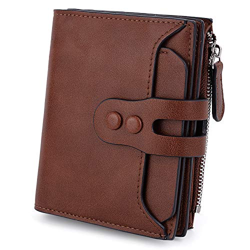 UTO Womens Wallet RFID Blocking PU Leather Bifold Snap Card Holder Money Coins Organizer Purse Brown