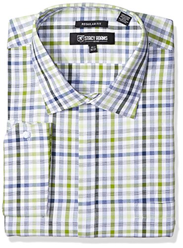 STACY ADAMS Men's Big and Tall Big & Tall Grid Check Classic Fit Dress Shirt, Green, 17.5
