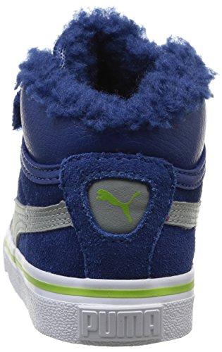 Puma Mid Vulc FUR V Kids 354143, Unisex - Kinder Hohe Sneakers Blau (Bleu (Limoges/Gray/Lime Green))