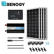 RENOGY® Solar Panel Complete Kit 400W Mono: Four 100W Mono Solar Panel+One 30A PWM Charge Controller+One Battery Inverter 1000W+One Pair 20Ft MC4 Solar Adaptor Kit+One Pair 8Ft 10AWG Tray Cable+Three Pairs MC4 Branch Connectors+Four Sets Z Brackets