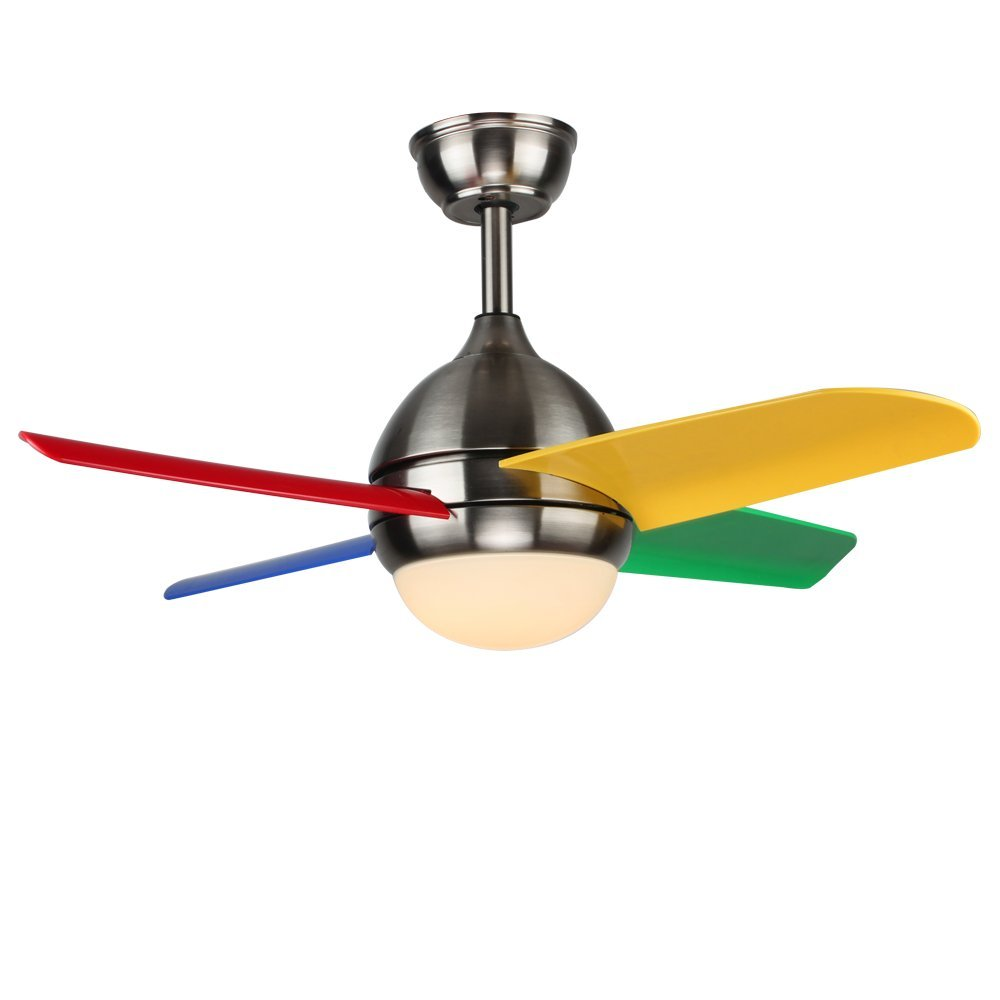 Akronfire Childrens Ceiling Fan Remote Control Silent Colorful Fans Chandelier With 5 Plastic Blades for Decorate Indoor Home of 52 Inch