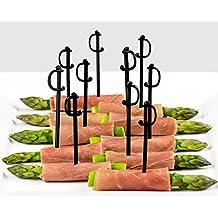 Soodhalter Regal Swords, 100 Black Sword Picks, 3 Inch Plastic Food & Cocktail Toothpicks