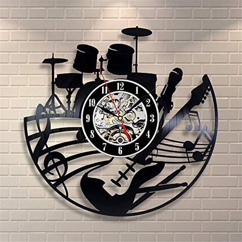 (Guitar and Drums Vinyl Record Wall Clock - Contemporary Music Fan Art Design - Get Unique Living Room Wall Decor - Gift Ideas for HIs and Her)