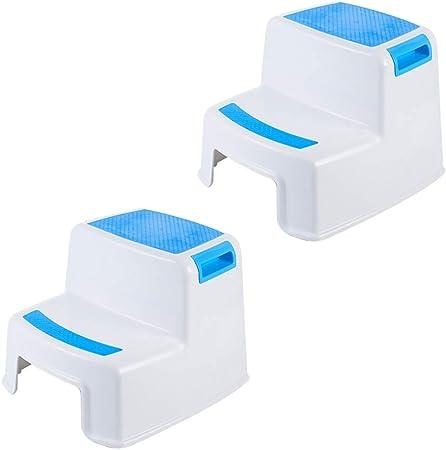 Taburetes Escalera Infantil Banco de Zapatos plástico Baño Antideslizante Escalera Paso 2 Regalo Cargado (Color : Blanco, Size : 35x33x26.5cm): Amazon.es: Hogar