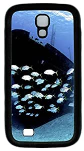 Galaxy S4 Case, Personalized Protective Soft Rubber TPU Black Edge Boat Fish Case Cover for Samsung Galaxy S4 I9500