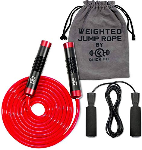 Quick Fit Jump Rope Set of 2 Weighted & Non-Weighted Skipping Cords – Portable Exercise Accessory for Cardio, HIIT…