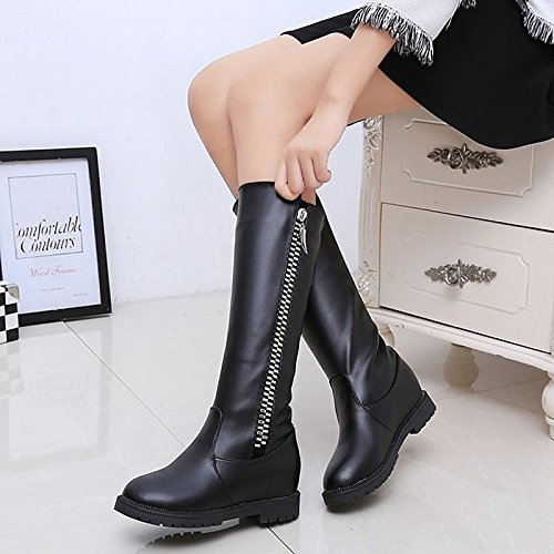 Casual Mid Comfort HSXZ Winter ZHZNVX Calf Black Low Women's Shoes Null Fall Boots Brown Black PU Toe Heel Boots Round for YTffqwdOxg