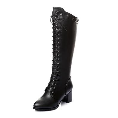 88b6dfcddbca8 Nine Seven Genuine Leather Women s Round Toe Block Heel Lace Up Side Zip  Closure Handmade Knee