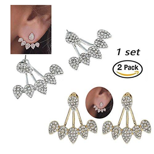 SUNSCSC Clear Crystal Rhinestone Dangle Water Drop Simple Ear Stud Earrings (1 SET (Crystal Set Drop Earrings)