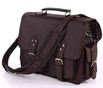 "Portfolio Unisex Business Male Bag Thick Leather Executive Mens Briefcase 16"" Laptop Bags Satchel chocolate"