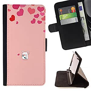 DEVIL CASE - FOR Apple Iphone 5 / 5S - Love Cute Pig Heart Pink - Style PU Leather Case Wallet Flip Stand Flap Closure Cover