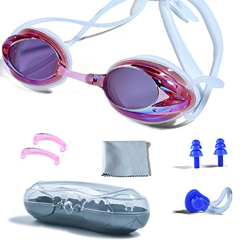 Swimming Goggles, PHELRENA Professional Swim Goggles Anti Fog UV Protection No Leaking for Adult Men Women Kids Swim Goggles with Nose Clip, Ear Plugs, Protection Case and Interchangeable Nose - Nose Bridge Swimming Goggles