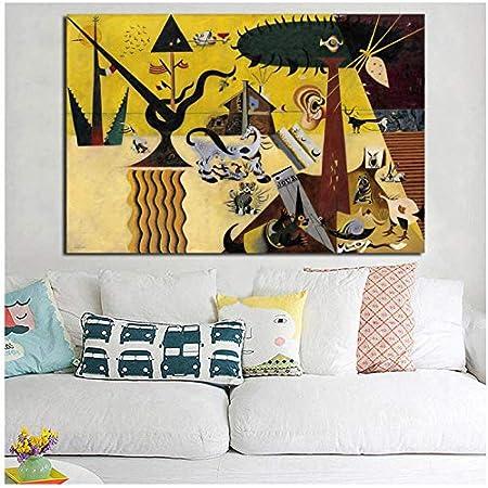 WSTDSM The Tilleds Fields De Joan Miroes Lienzo Pintura Impresión Sala De Estar Decoración del Hogar Arte De La Pared Pintura Cartel 24X32 En Sin Marco