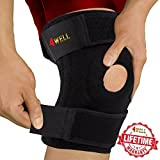 4well Knee Patella Support Brace for Men Women - Best Open Patella Knee Stabilizer for Walking Injury Recovery Running Sport ACL - Non Slip Comfortable Adjustable Knee Brace Neoprene