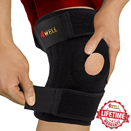 4well Knee Patella Support Brace for Men Women - Best Open Patella Knee Stabilizer for Walking Injury Recovery Running Sport ACL - Non Slip Comfortable Adjustable Knee Brace Neoprene by 4well (Image #8)