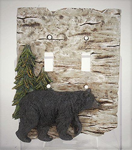Black Bear and Pine Tree double light switch plate