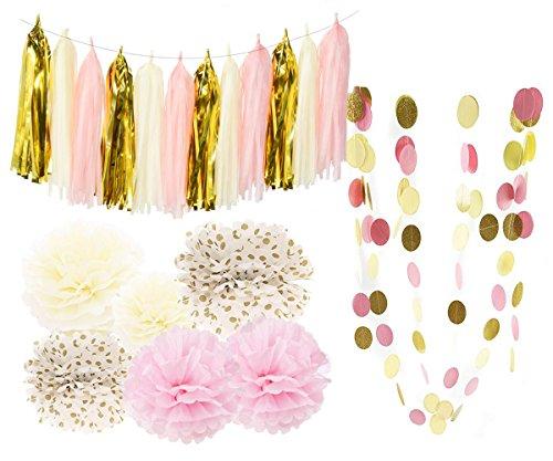 Bridal Shower Decorations Tissue Pom Pom Pink Cream Glitter Gold Tissue Paper Pom Pom Paper Tassel Garland Polka Dot Tissue Poms for Girl Baby Shower Decorations Pink Gold Party Decor First Birthday]()
