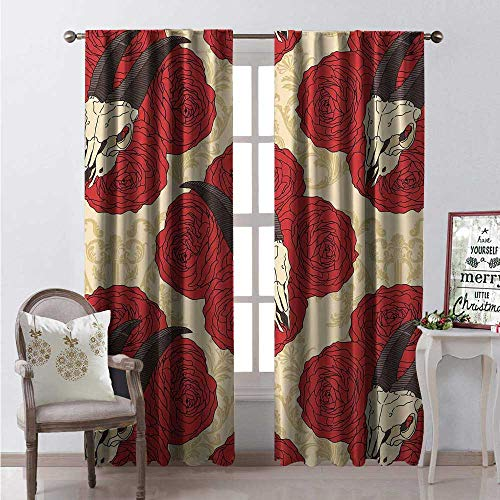 Hengshu Gothic Waterproof Window Curtain Goat Skull on Red Roses Horn Pattern Animal Bone Traditional Symbol Art Print Decorative Curtains for Living Room W120 x -