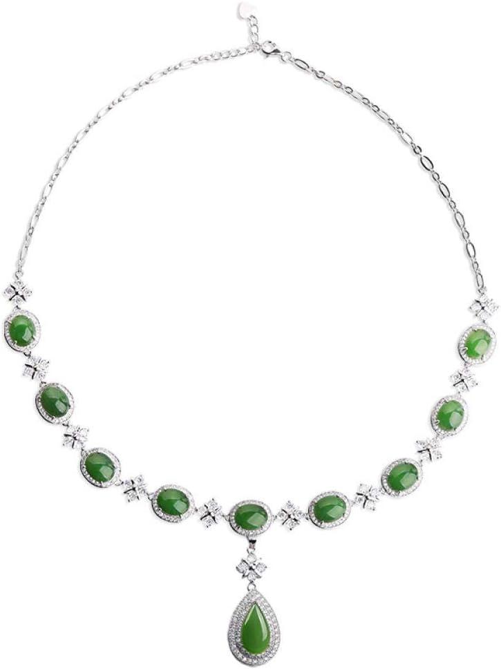 SanQ-Seven Un Regalo costoso para una Prometida Esposa, Novia y Madre. Anillo de Jade Verde Natural Collar Pendientes Pulsera Conjunto de Joyas @ Colgante + Collar