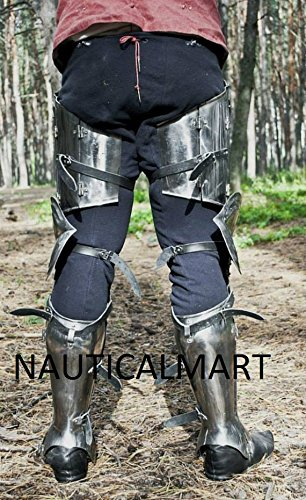 SCA advanced leg armor, complete Gothic fluted UPPER leg ,knees and greaves. by NAUTICALMART (Image #2)