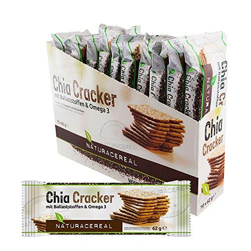 Chia Cracker Naturacereal - Galletas de Chia con fibras & Omega 3, 1 Paquete (