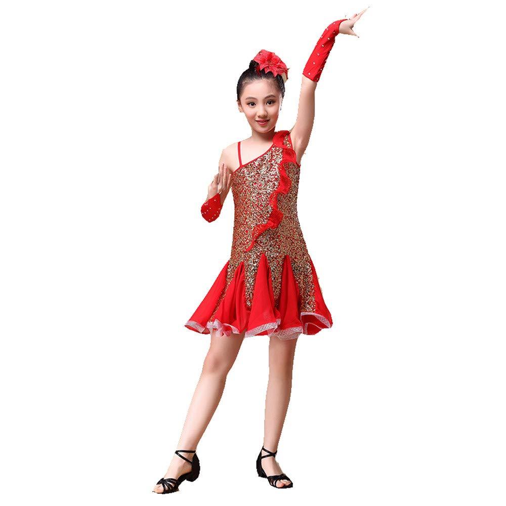 Rouge petit Jupe Danse Filles Enfants Enfants Filles Danse Latine Robe Rumba Samba Salle De Danse Perforhommecewear Compétition Danse Costume Robe Outfit avec Main Manches Coiffure Robe de costume de justaucorps de