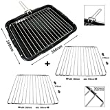 SPARES2GO Grill Pan with Handle & Rack Insert for Frigidaire Oven Cookers (386mm x 300mm) + 2 'Nut Locking' Extendable Shelves