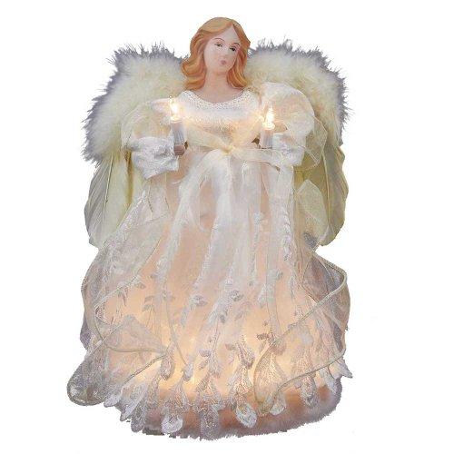 Kurt Adler 10-Light Angel Treetop, 12-Inch, (Light Christmas Tree Topper)