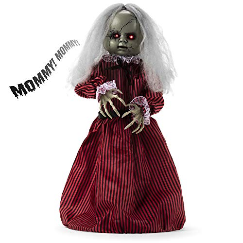 Animated Halloween Lights (Best Choice Products Haunted Holly Animated Roaming Doll Halloween Prop w/Light-Up Eyes, Sounds, Phrases,)