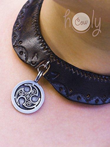 Hand Tooled Leather Collar Metal Celtic Tribal Pendant