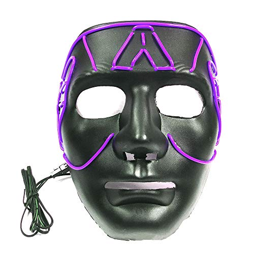 Halloween Purge Masks Safe EL Wire/2 Modes - Glowing Creepy Mask Sound Induction Flash (purple-18189cm/power Switch Button) ()