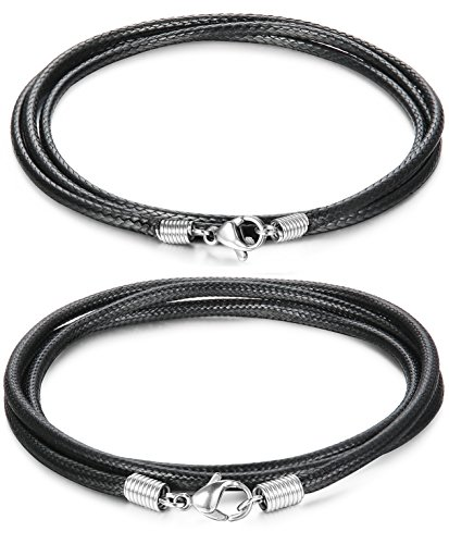 FIBO STEEL 2 Pcs 2 2.5MM Leather Chain Necklace for Men Women Braided Necklace Chain,30 inches Black