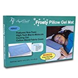 Frosty Cooling Pillow Gel Mat + STORAGE COVER - Best Cold Pad for Night Sweats, Migraines, Hot Flashes, Fevers, Neck Pain with No-Leak Flexible Soft Design - Large Adult Size (12.5 x 22 inches)