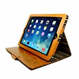 Alston Craig Personalised Vintage Genuine Leather Slim-Stand Case Cover for Apple iPad Air 2 (Sleep Function) - Brown