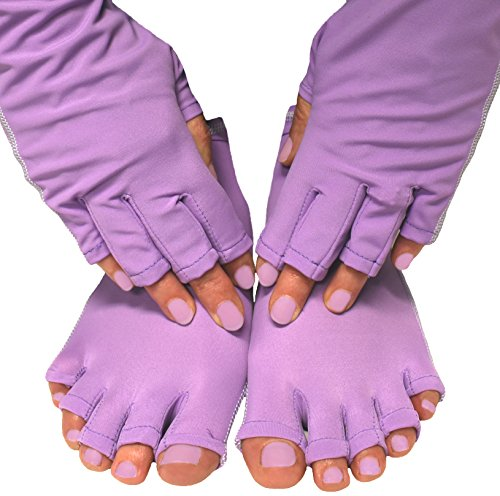 Typhoon UV Shield Glove & Sock Package - Protect Hands from UV Light for Gel Manicures & Pedicures! (Purple) Feet Pedicure Package