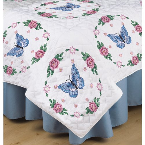 (Tobin T288090 Stamped White Quilt Block, 18 by 18-Inch, Butterfly Rose, 6-Pack)