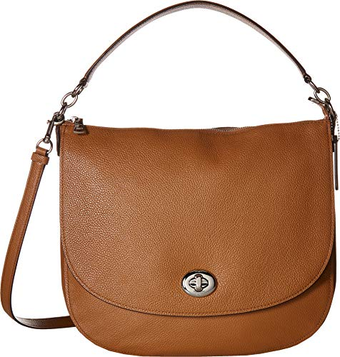 COACH Women's Polished Pebble Updated Turnlock Hobo Sv/Light Saddle One Size