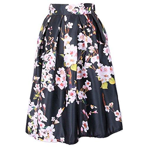 Noir ZhuiKun Jupes Fleurs Plisse Femme Midi Haute Jupe Patineuse Jupe Taille Imprime BFq4PO