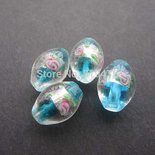 Calvas 16pcs/lot 1711mm Lampwork Glass Beads Oval Shape Flower with Silver Foil Ocean Blue Color for Jewelry Making