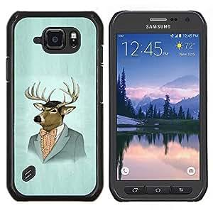 LECELL--Funda protectora / Cubierta / Piel For Samsung Galaxy S6Active Active G890A -- Retrato de los ciervos Arte Dibujo Pintura Traje de época --